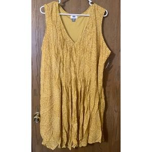 Pleated front mustard yellow dress NWT Old Navy